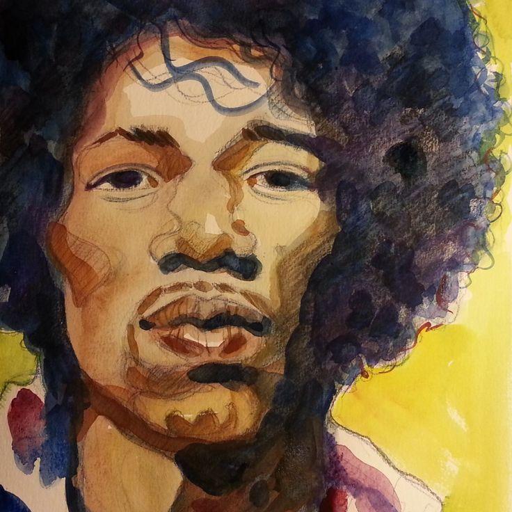 Jimi Hendrix Watercolour - Maria Tomczak