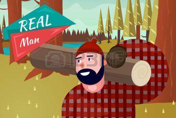 Real Man Stile di Vita Naturale Cartoon Retro Wood Background Illustrazione Vettoriali