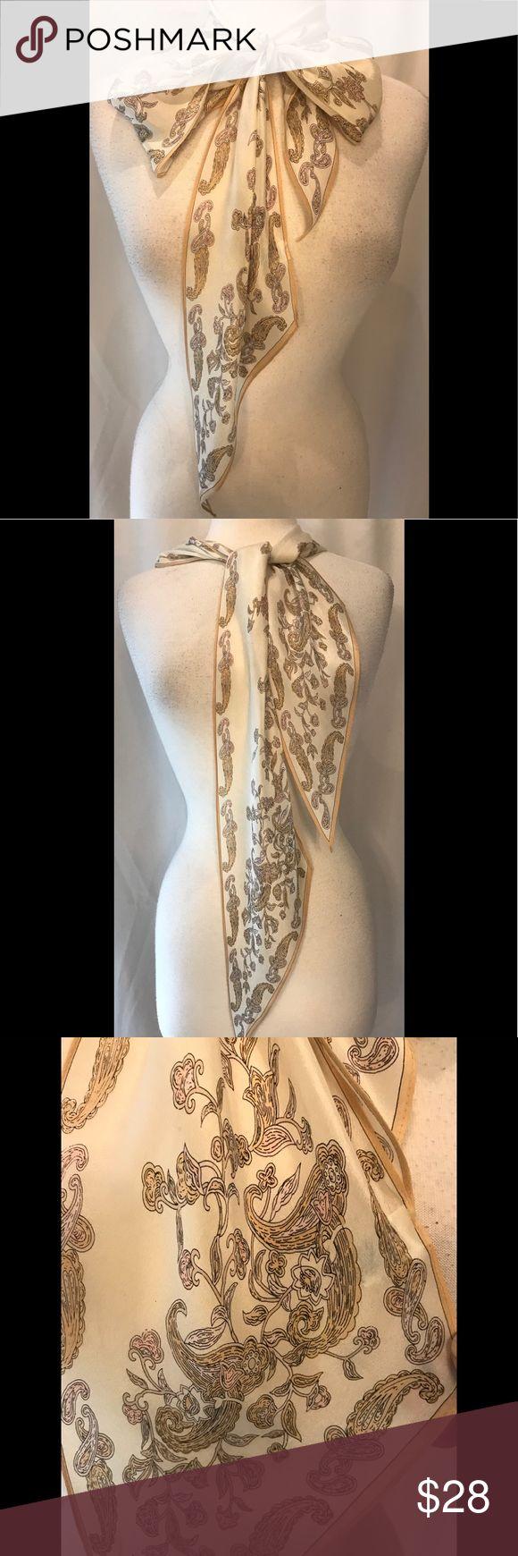 """Oscar de la Renta narrow silk scarf Oscar de la Renta ivory paisley and floral 100% silk scarf. Made in Japan. 68"""" long and 6"""" wide. Beautiful and elegant! Oscar de la Renta Accessories Scarves & Wraps"""