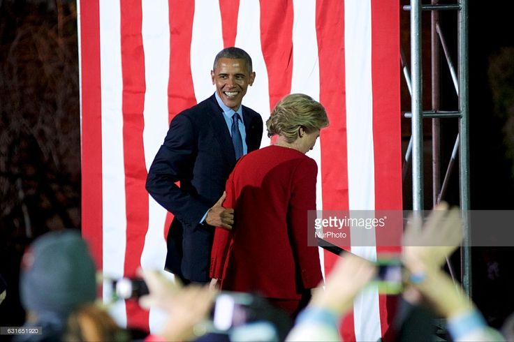 US President Barack Obama guides Hilary Clinton of the stage at the end of the final rally of Democratic Presidential candidate Hillary Clinton, on November 7, 2016, at Independence Hall, in Philadelphia, PA., USA. The same city her campaign started in, also provides the final stage for Clinton as she is joined by her family and Michelle and Barrack Obama.