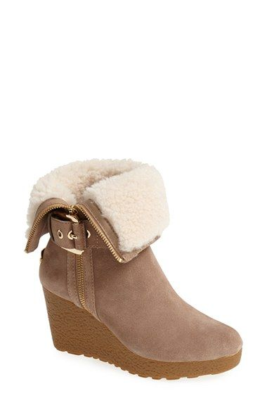 MICHAEL Michael Kors 'Lizzie' Genuine Shearling & Suede Wedge Bootie (Women) available at #Nordstrom