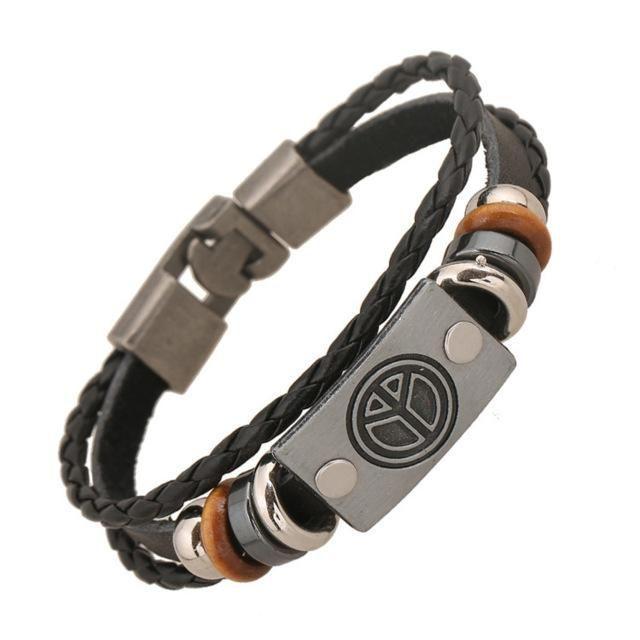 Retro CND Symbol (Peace Sign) Charm Genuine Leather Beads Bracelet