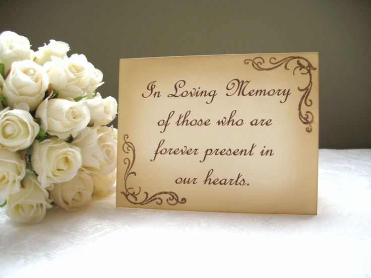Vintage Inspired In Loving Memory Wedding Sign. $7.00, via Etsy.