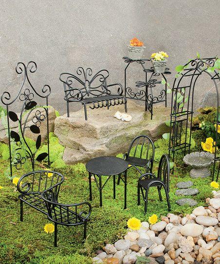 Plow & Hearth Miniature Fairy Garden Metal Furniture Set   zulily - FAIRY & MINIATURE GARDEN SUPPLIES