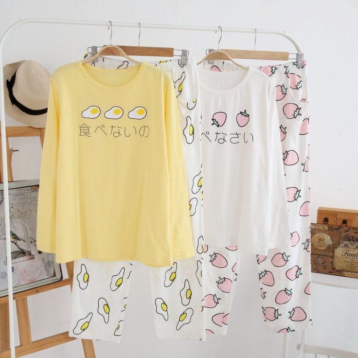 "Japanese harajuku poached egg strawberry pajamas suit Coupon code ""cutekawaii"" for 10% off"