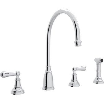 Rohl  U.4736L-APC2 Perrin Rowe Polished Chrome  Two Handle with Sidespray Kitchen Faucets  | eFaucets.com