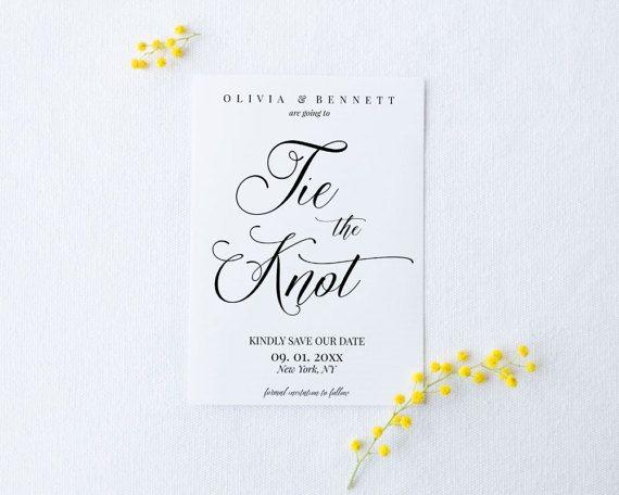 Calligraphy Save the date Card Template Modern \u2022 100/% Editable and easy to use \u2022 Wedding Announcement Card \u2022 Templett Save the Date Card