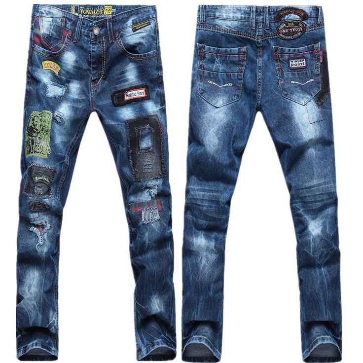 2017 2016 Patchwork Jeans For Men Stylish Printed Hole Skinny ...