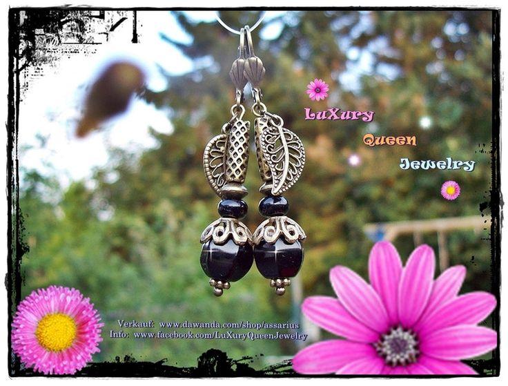 Onyx Edelstein-Ohrringe Black Pumpkin Antik-Bronze von LuXury Queen Jewelry auf DaWanda.com