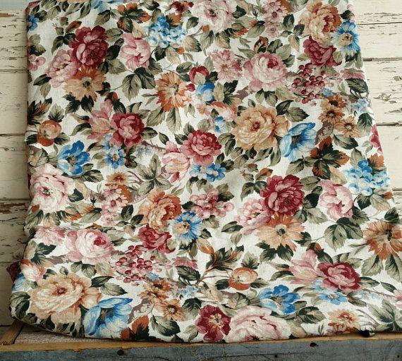 Shabby Chic Roses On Linen Upholstery Fabric Yardage
