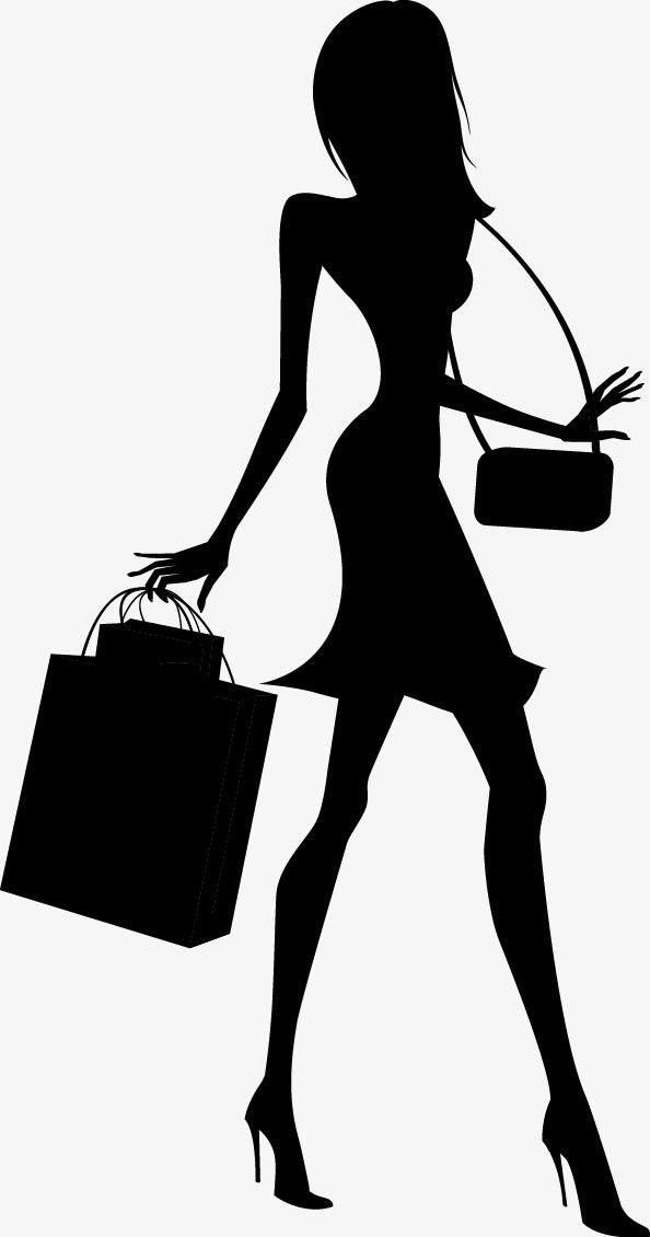 модные магазины девочка силуэт, мода, торговый, девушка PNG и PSD-файл для бесплатной загрузки