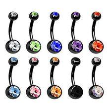 Anillo Del Botón Del Ombligo Anillos del Botón de vientre Doble Joya de Perforación Negro Doble Crystal Gem Body Piercing 1 unids(China (Mainland))