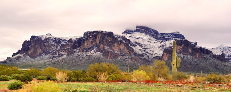 Superstition Mountain Arizona after unusual snow storm [4288 x 1715] #reddit