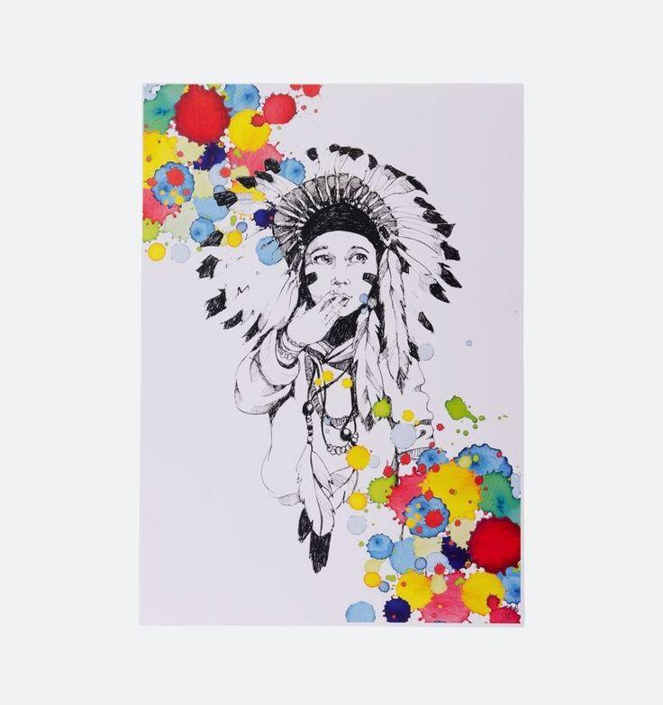 Little Indian - Smuk, detaljeret og farverig illustration fra Stine Hvid. Fås i A3.   Stine Hvid er illustrator, vægmaler og streetart kunstner. Hun er bosat i København, hvorfra hun driver sin, over 2 år gamle, virksomhed Stine Hvid Illustration.