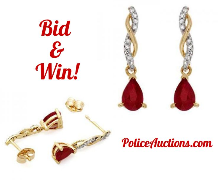 http://bit.ly/1dZLjrG:Gorgeous Womens 10K Solid Yellow Gold 0.12 CTW 18 Diamond and 1.0 CTW Pear Cut Ruby Designer Earrings