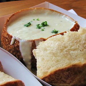Boudin Bakery - San Francisco, CA Clam Chowder in Sourdough... Highly recommended...