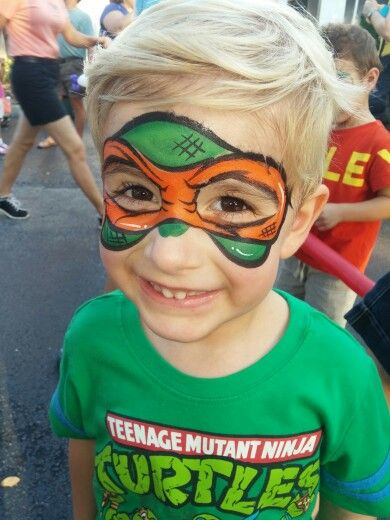Ninja turtle face painting! It would be cool to do something like this!