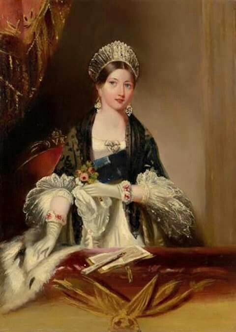 Beautiful portrait of a young Queen Victoria. Oil painting of Queen Victoria at…