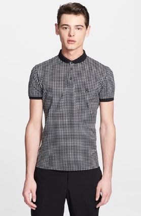 The Kooples Round Collar Houndstooth Pique Polo Grey Large