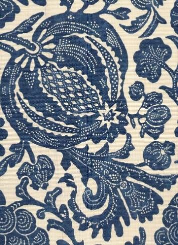 "Batik Indigo fabric - 100% cotton multi purpose weight navy blue on ecru floral print. 18"" vertical, 11"" horizontal repeat. 54"" wide. $19.95 per yard"