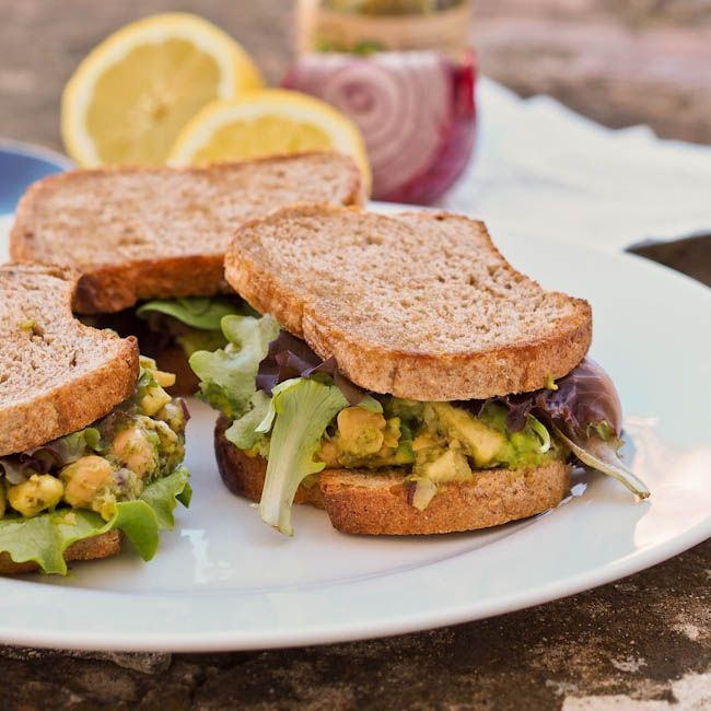 Avocado Chickpea Salad Sandwiches  with greens and pesto - make for the perfect vegan and healthy lunch! {#Gluten-Free, #Vegan}