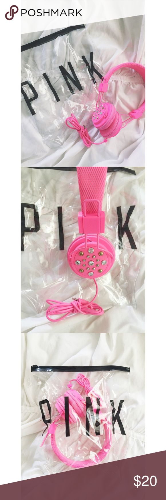 Victoria's Secret PINK Headphones Victoria's Secret PINK Headphones.  Pink Bling head phones.  Used once.  Comes in bag.  Great condition, works great. PINK Victoria's Secret Other