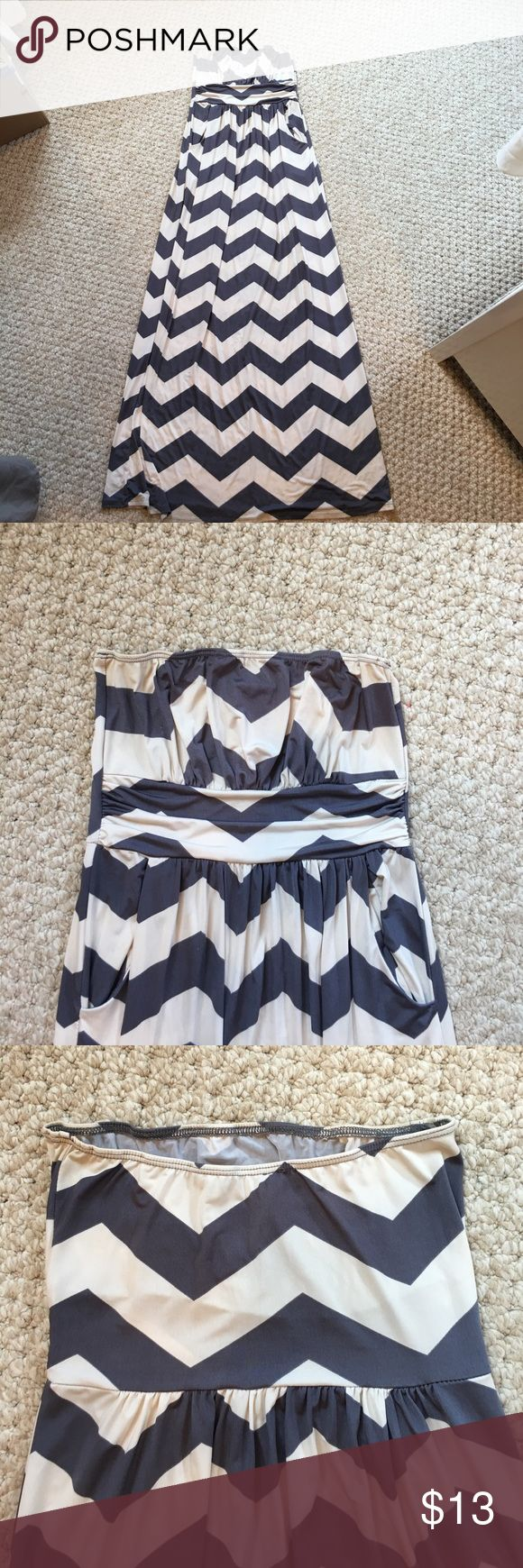 Chevron Maxi Dress Satin chevron maxi dress - fitted and sliming - has pockets Dresses Maxi