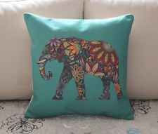 Turquoise Colorful Elephant Cotton Linen Cushion Cover Throw Pillow Decor B696