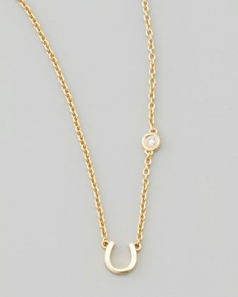 Horseshoe & Single-Diamond Necklace by SHY by Sydney Evan at Neiman Marcus.