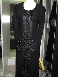 Black Abaya Design 14 - DBL03   ABAYA MUSLIMAH