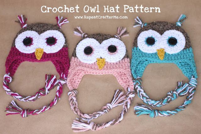 Repeat Crafter Me: Crochet Owl Hat PatternFree Pattern, Crochet Owls Hats, Free Crochet, Crochet Hats, Hat Patterns, Baby, Hats Pattern, Crochet Pattern, Repeat Crafter