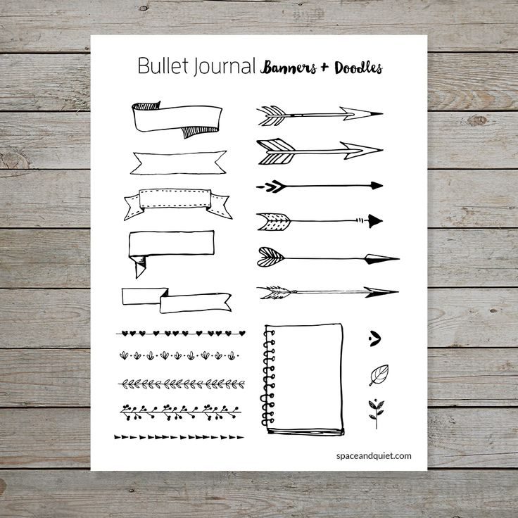 Free printable banners and doodles for bullet journal