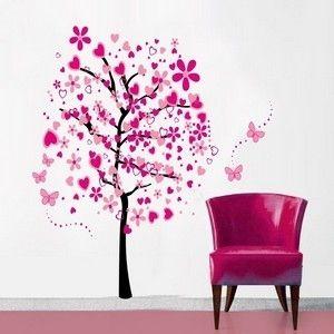 Wallstickers tr� i pink med sommerfugle