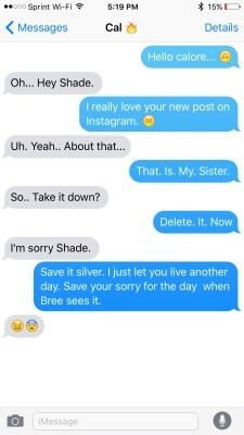 Red Queen characters texting Cal and Shade
