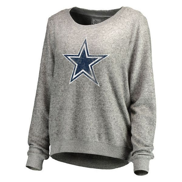 Women's Dallas Cowboys Pro Line by Fanatics Branded Ash Distressed... ($80) ❤ liked on Polyvore featuring tops, hoodies, sweatshirts, ripped sweatshirt, destroyed sweatshirt, distressed top, nfl sweatshirts and distressed sweatshirt