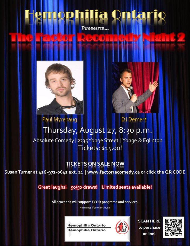 Looking for a great date night idea? Want to have a fun boys or girls night in the city? Want to help contribute to TCOR programs and services? Then look no further!  Get your tickets NOW for the 2nd Annual Factor Recomedy Night!  Thursday August 27th, 8:30pm, Absolute Comedy 2335 Yonge Street (Yonge and Eglinton).  Tickets are only $15!  This event will feature comedians Paul Myrehaug and DJ Demers, as well as a 50/50 draw!  To purchase tickets go to www.factorrecomedy.ca, click the QR code…