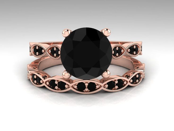 Black Diamond Engagement Ring Set / Rose Gold Bridal Ring Set / Round 2. Carat Natural Black Diamond Wedding Set / 14K Rose Gold / RE00201R
