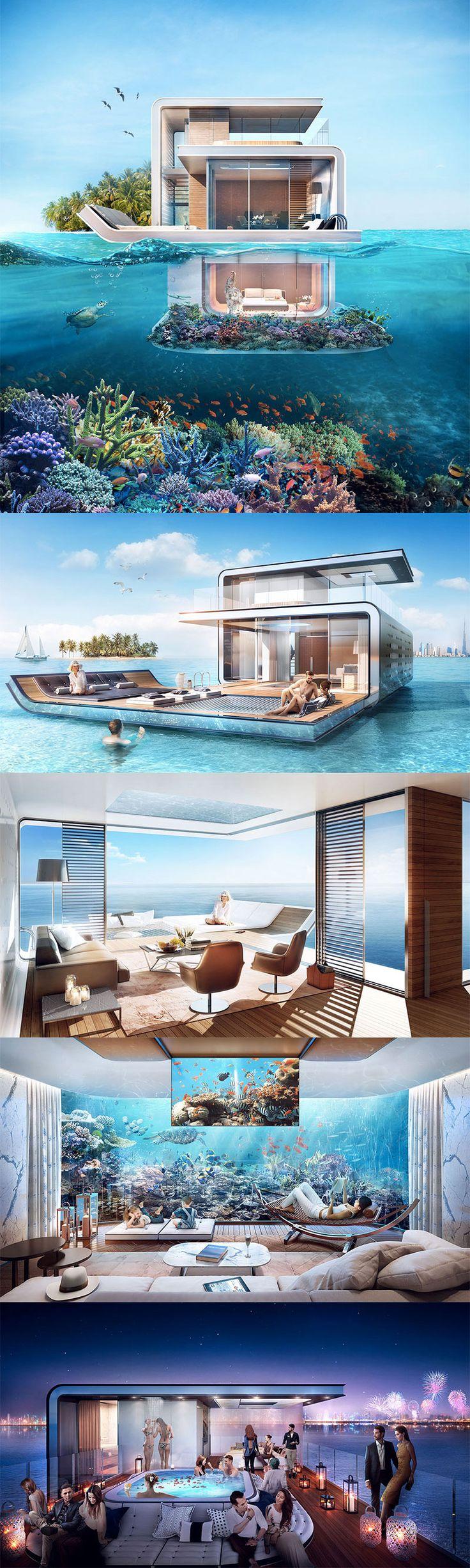 #Architettura #Dubai - Floating Seahorse: una villa extra lusso in mezzo al mare... anzi, sotto il mare!!!
