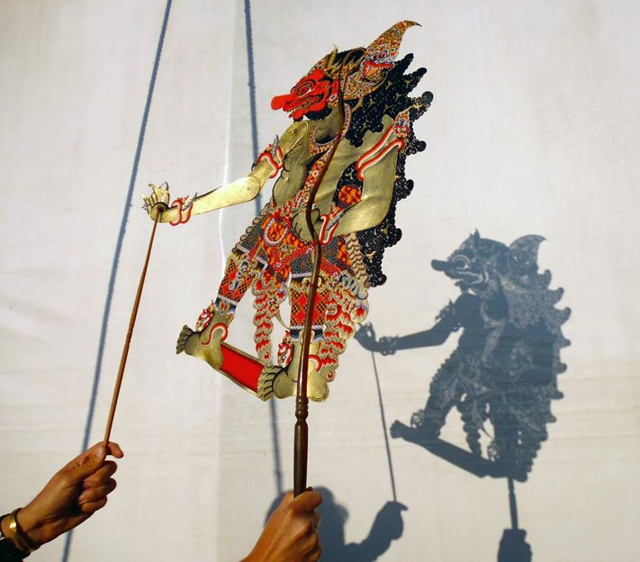 Indonesian shadow puppets on outreach with Giffords Circus round Oxfordshire, 2013