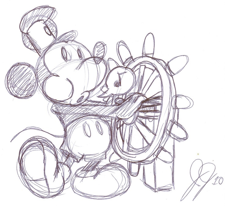 Steamboat Willie drawing.
