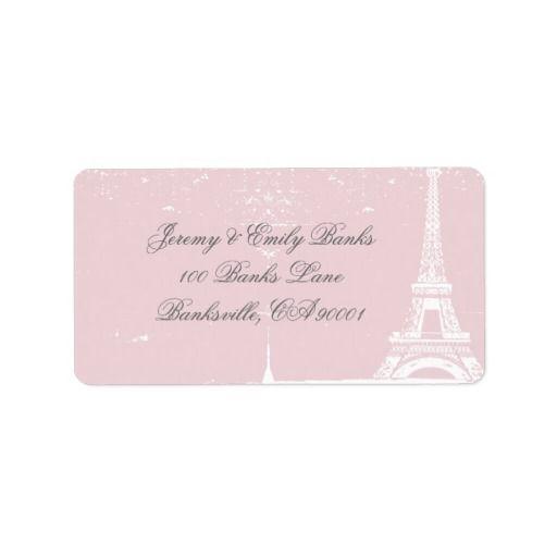 Pink Eiffel Tower Address Labels
