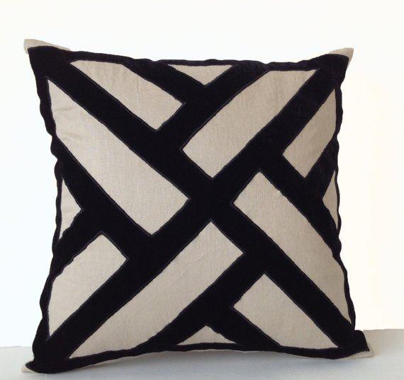 Grey Linen Black Velvet Pillow Cover Geometric Pattern Pillow Modern Decor Large Pillow Decorative Velvet Pillows Applique Pillows Handmade Cushion Covers