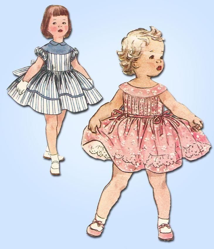 1950s Original Vintage Simplicity Pattern 1220 Toddler Girls Party Dress Size 3