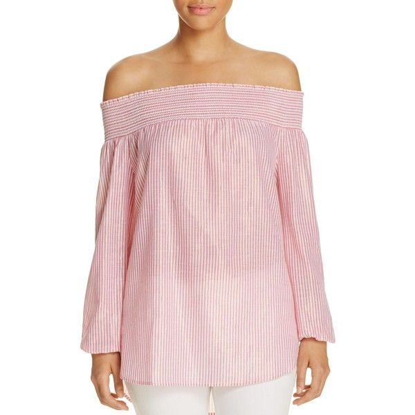 Michael Michael Kors Off-the-Shoulder Metallic Stripe Top ($67) ❤ liked on Polyvore featuring tops, electric pink, smock top, pink off shoulder top, striped off-the-shoulder tops, metallic shirt and striped top