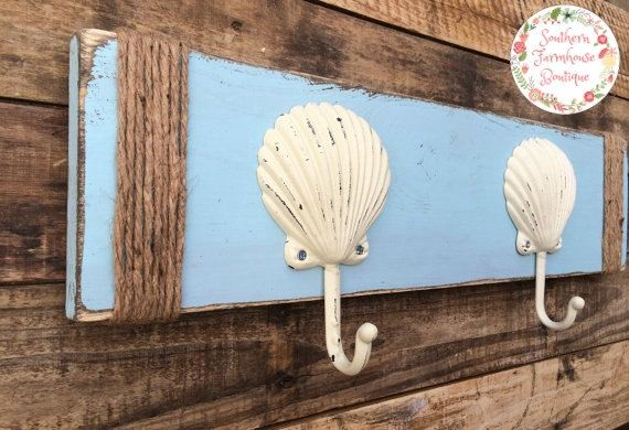 Rustic Sea Shell Towel Rack Wall Hooks Twine by SouthernFarmhouse