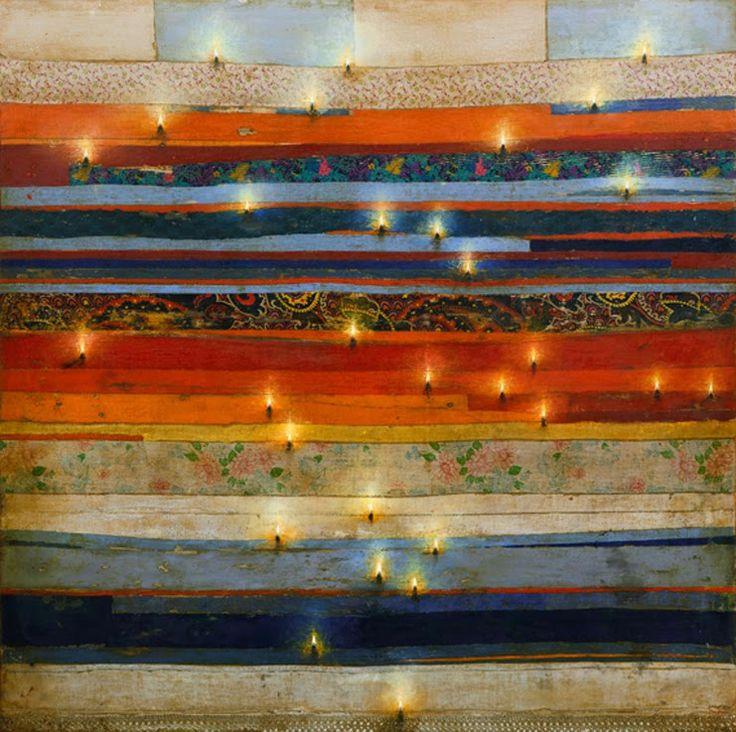 Φλόγες σε πολύχρωμα κουρέλια (2010) Λάδι σε πανιά και ξύλο