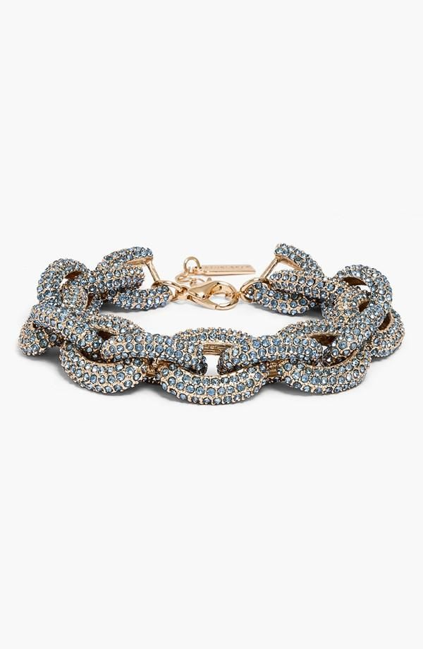 Blue and sparkly for work. Love this BaubleBar Pavé Link Bracelet.