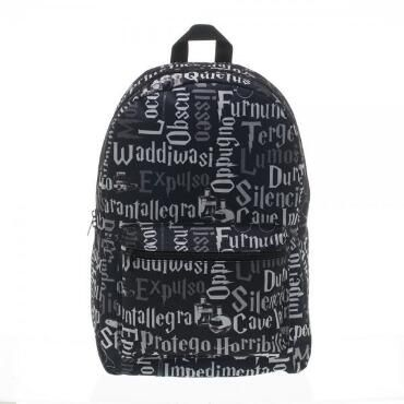"""Are you not able to keep track of your spell book?  If you're unable to locate it, no worries, you can always use your backpack to jog your memory. This Harry Potter backpack features all the coolest spells in an allover print. This backpack has a zip closure with a front pocket that includes a zipper and adjustable padded straps. Measures approximately 12""""W x 17""""H x 5""""D. 100% Polyester."""