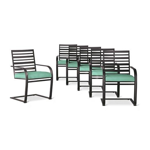Rejuvenate your outdoor eating area with the Threshold Ft. Walton 6-Pk. Motion Dining Chairs. The slatted seat backs have a clean look, and are fade-resistant, box-edged cushions provide plush seating.  The smooth rocking motion creates extra comfort and the e-coated steel frame will resist the elements and prevent rusting for outdoor dining all summer long.