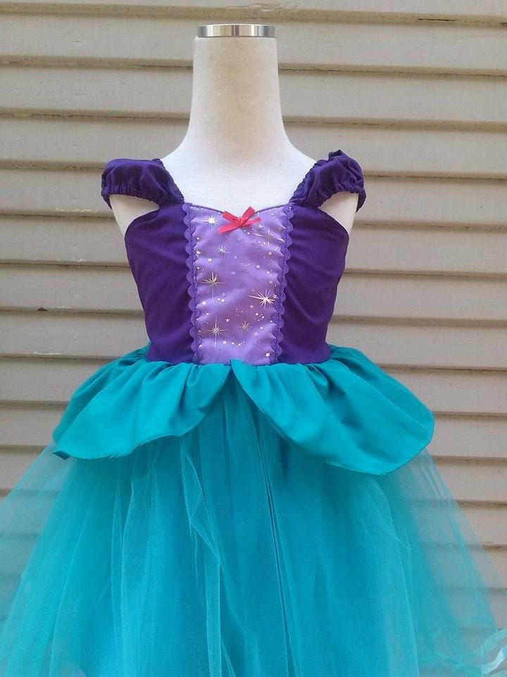 ARIEL dress with tutu  Ariel costume princess dress for toddlers and girls fun for  vacation outfit or birthday party costume by loverdoversclothing on Etsy